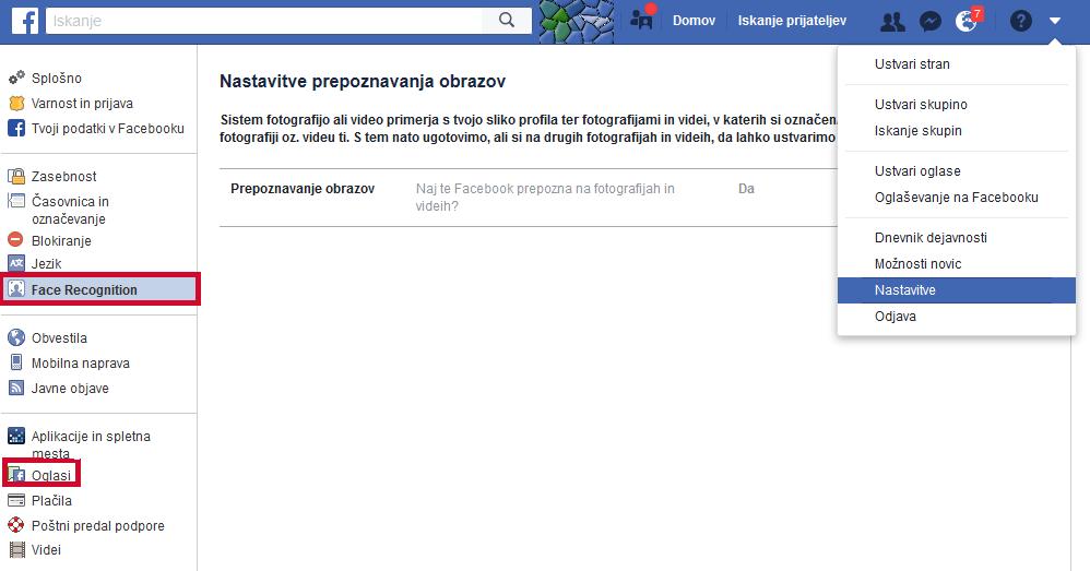 Nastavitve na spletni strani FB