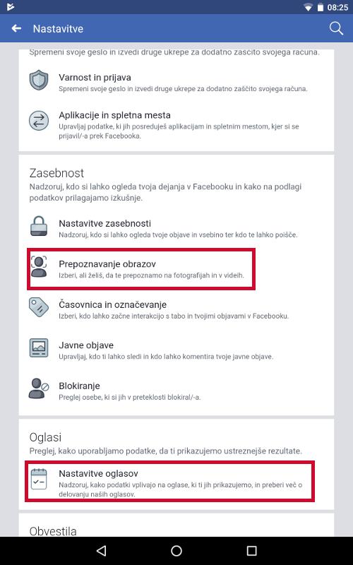 Nastavitve Facebooka v aplikaciji