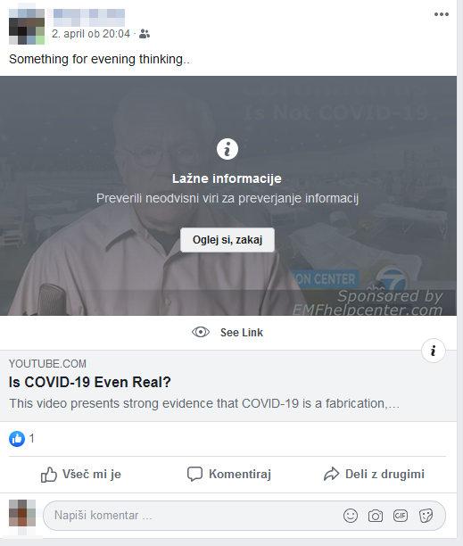 Lažna novica na Facebooku