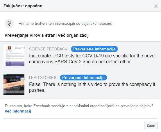 Pojasnilo lažne objave na FB