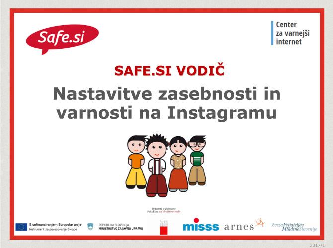 Safe.si vodič Zasebnost in varnost na Instagramu