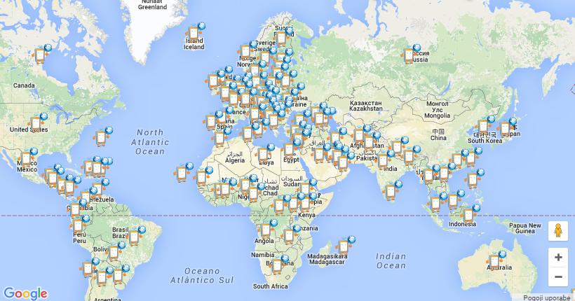 Svetovni zemljevid dneva varne rabe interneta 2016
