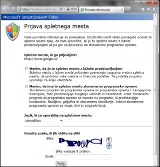 Slika 3: Prijava spletnega mesta
