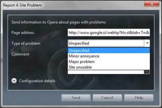 "Slika 2: ""Report a site problem"""