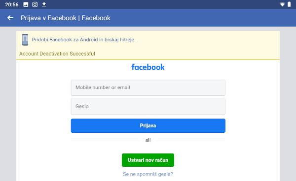 Navodila za deaktivacijo Facebook računa