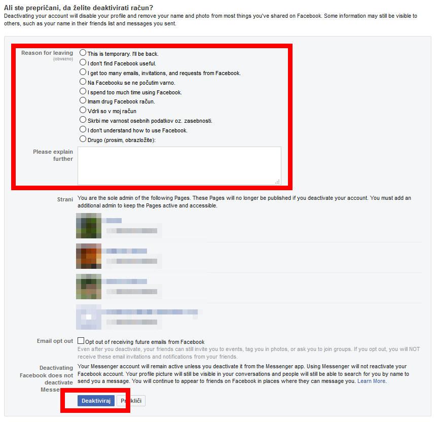 Navodila za deaktivacijo Facebook profila