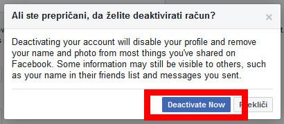 Navodila za deaktivacijo facebook računa.