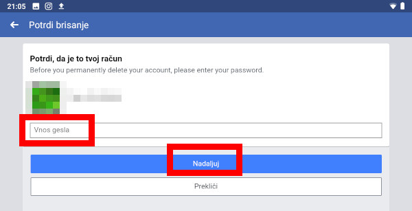 Navodila za izbris Facebook računa.