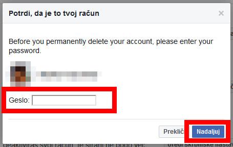 navodila za izbris Facebook računa