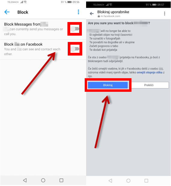 Blokiranje uporabnika na Messengerju
