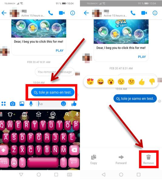 Izbris poslanega sporočila na Messengerju