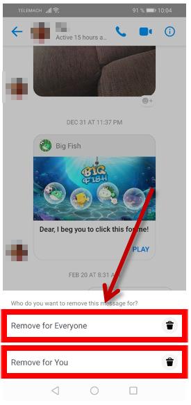 Odstranitev sporočila na messengerju