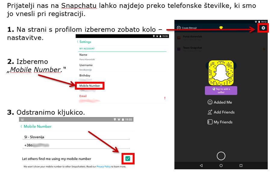 Snapchat - izklop iskanja po telefonski sliki