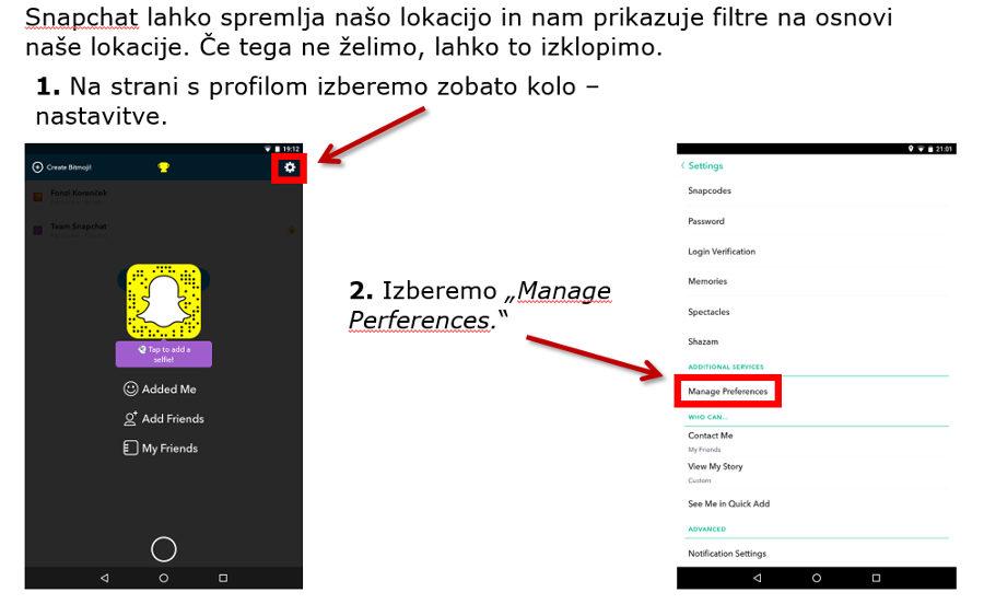 Snapchat - izklop geolokacije in spremljanja navad