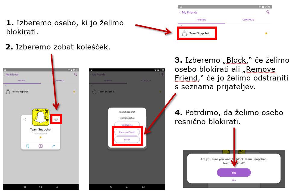 Snapchat - Blokiranje uporabnikov in odstranjevanje prijateljev