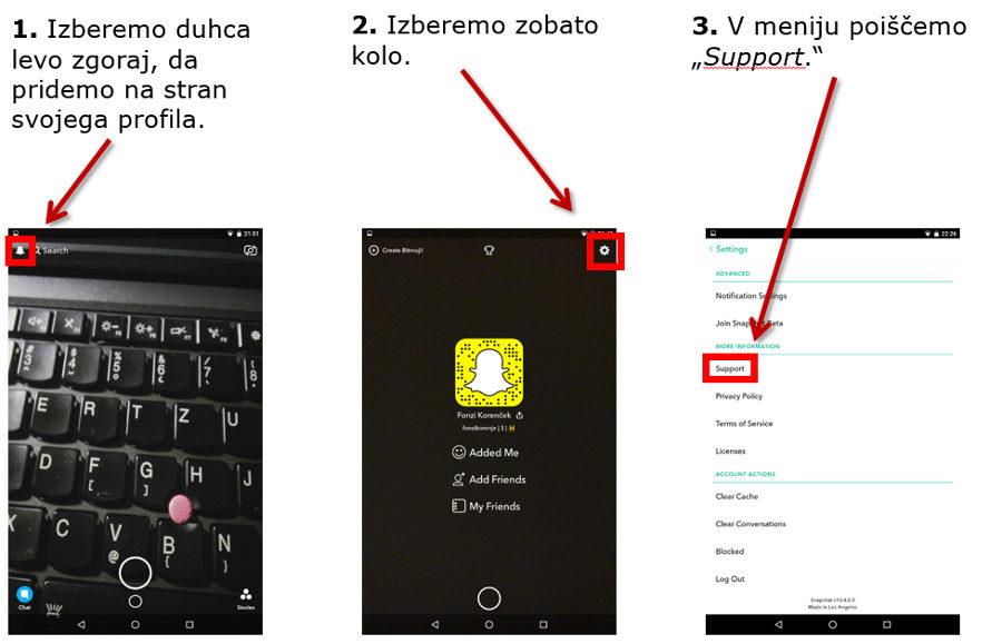 Snapchat - prijava nadlegovanja ali lažnega profila