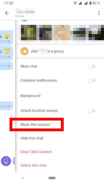 Blokiranje uporabnika na Vibru